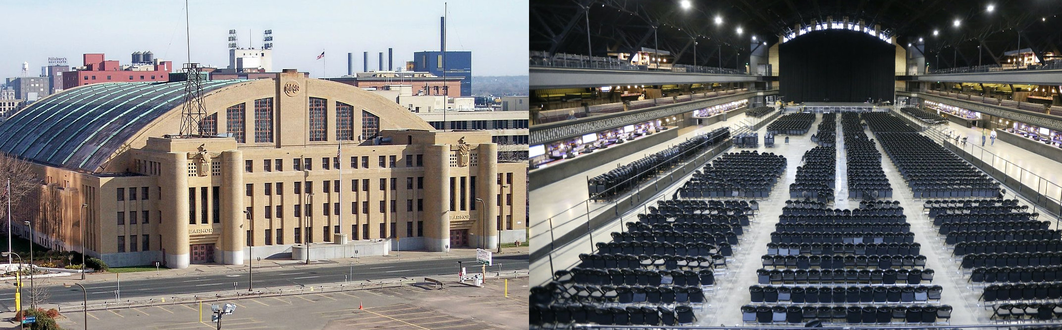 The interior and exterior view of the Minneapolis Armory Arena