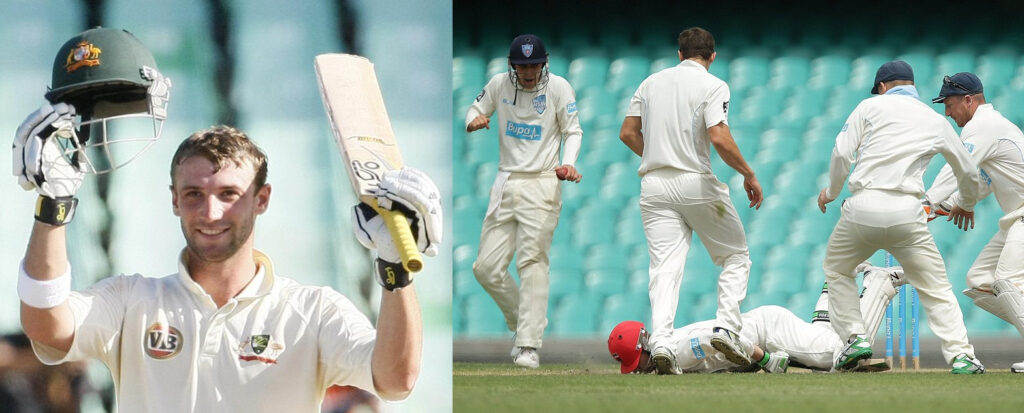 Phillip Hughes was struck by the cricket ball leading to his death.