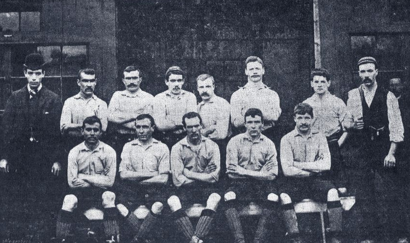 The squad who made History by winning Liverpool's first football match.
